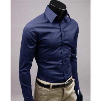 Moonar Fashion Pure Color Style Slim Shirt Men Casual/Fornak Style Long-Sleeve Shirt M-XL (Dark Blue) - intl
