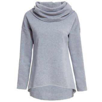 Women Jumper Irregular Turtleneck Solid Color (Gray) - intl