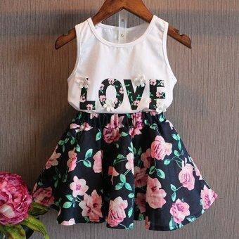 2016 New Children Summer Girls Fashion Letter Love Flower Vest+Short Skirt Set Toddler Kids Clothes Suit 2 Piece Outfit - intl