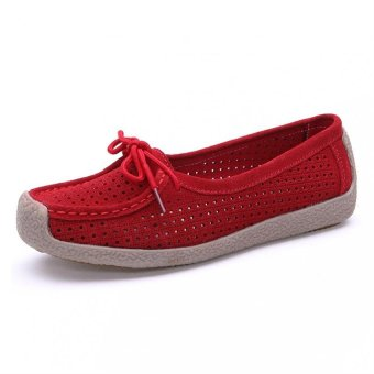 2016 New Women Suede Leather Snail Loafers Shoes Bowtie Slip-on Moccasins Flat Shoes(Red) - intl