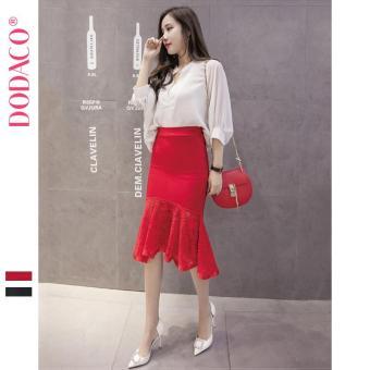Chân Váy Ngắn Nữ Chân Váy Ren Đuôi Cá Phong Cách Hàn Quốc Thời Trang DODACO DDC1885 DO VNU S - L 5299 (Đỏ)