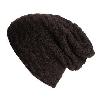 Winter Hat Stripe Lattice Knitted Wool Thicken Skullies Beanies (Coffee) - intl
