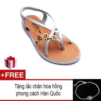 Giày xăng đan Lopez Cute D57 (Xám) + Tặng lắc chân hoa hồng phong cách Hàn Quốc