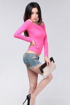 LALANG Trendy Slim Off Shoulder Long Sleeve Blouse Tops Rose red - Intl