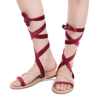 Cyber Criss Cross Velvet Lace-Up Flat Sandals ( Wine Red ) - intl