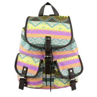 Floral Print Canvas Backpack (Green)