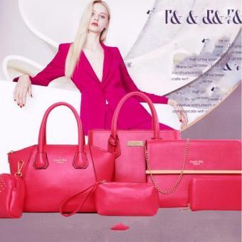 Bộ túi xách 6 món 1 dây da đeo chất liệu PU cứng da mịn -134 (Hồng)