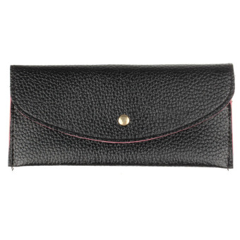 Candy Colors Envelope Slim Design Leather Wallet Black