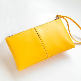 Women Leather Long Bifold Purse Zipper Clutch Handbag Wallet Card Bag Yellow - Intl