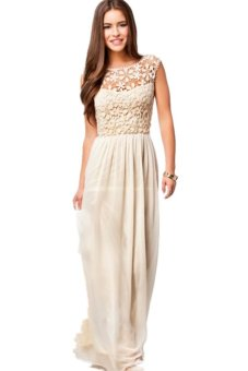 LALANG Floral Pattern Lace Crochet Chiffon Dress (Beige) - Intl