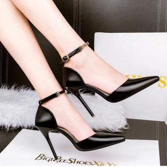 Giày Gót Nhọn Da Bóng Size 35 (Đen 35).