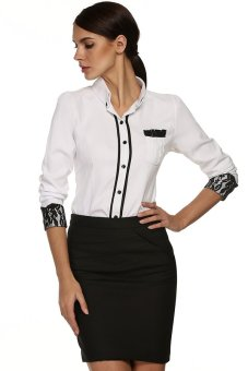 Cyber Finejo Stylish Ladies Women Long Sleeve Lapel Single-breasted Slim OL Style Formal Solid Shirt Blouse Top ( White ) - intl