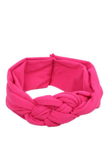 Fancyqube Soft Girl Kids Hairband Turban Knitted Knot Cross Headband Headwear Fuchsia