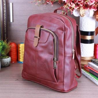 Balo nữ túi hộp nổi trang trí nẹp gài khoen Saluda (Đỏ mận)