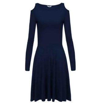 Cyber Meaneor Sexy Women Off Shoulder Slim Spring Dress ( Navy Blue ) - intl