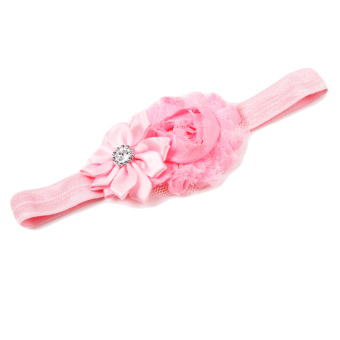 Fancyqube Flower Pearl Infant Toddler Girl Headband Clips Hairband Hair Band Pink