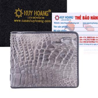 Bóp Nam Huy Hoàng Da Cá Sấu Ngăn Sau (Xám)