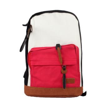 Women Girls Canvas Shoulder Bag Backpack Rucksack Satchel Bookbag Red+Black