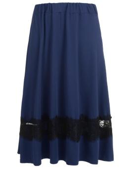 Cyber Women Elastic Waist Floral Lace Patchwork Casual Midi Skirt Plus Size ( Blue ) - intl