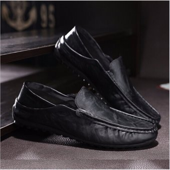 Fashion Leather Slip On Men Driving Moccasins Loafers Casual Shoes England Dress - intl