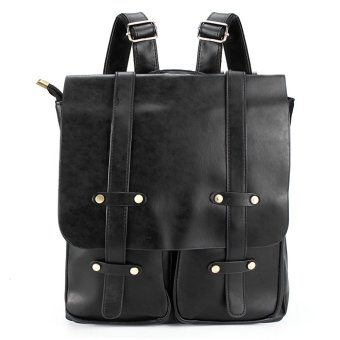 Women Men PU Leather Backpack Shoulder Laptop Bag Vintage School Travel Rucksack Black - intl