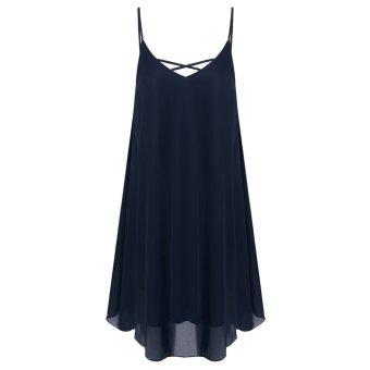 Cyber Zeagoo Women Spaghetti Strap Chiffon Sundress Sleeveless Beach Dress (Navy Blue) - Intl