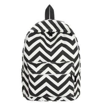 Women Double-Shoulder Sweet Stripe Canvas Backpack Schoolbag Black - Intl