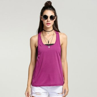 Sunweb New Sexy Women Tank Tops Loose Gym Fitness Side Split Solid Casual Sports Tops ( Rose red ) - intl