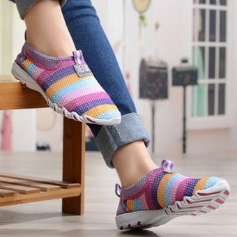 Women Shoes Summer Mesh Breathable Soft Casual Slip On Low Top Fashion Sport Shoes Purple - intl