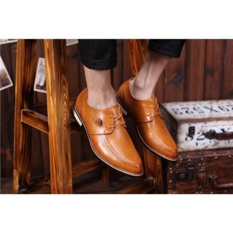 Giày Nam Công Da Màu Nâu Bò Đế Gỗ Sành Điệu Logo Wifi HQ96