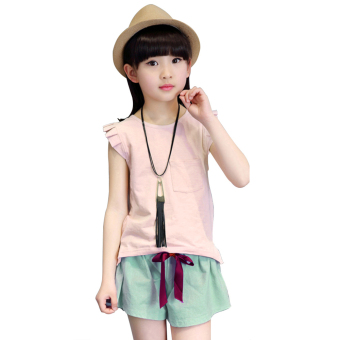 Fashion Girls Two-Piece Suit Summer New Children's Clothing Short-Sleeved Cotton (Pink) (Intl)--TC - intl