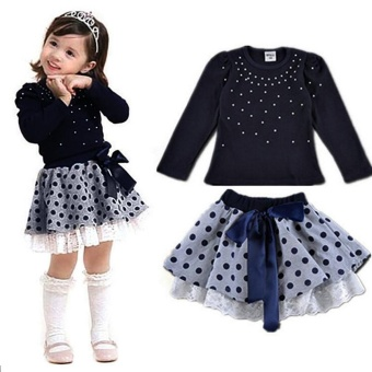 Baby Girls Outfit Princess Clothes Pearl T-Shirt Tops+Lace Dot Short Skirt 1Set - intl