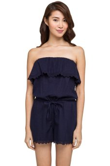 Playsuit quây nhún bèo New Look (Xanh navy)