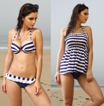 Sunweb Cross Stripe Padded Push Up Bikini 3-Piece Swimwear Set (Blue) - intl