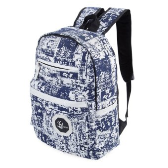 Trendy Portable Travel School Bag VERTICAL Ladder Lock Zipper(Blue And White) - intl