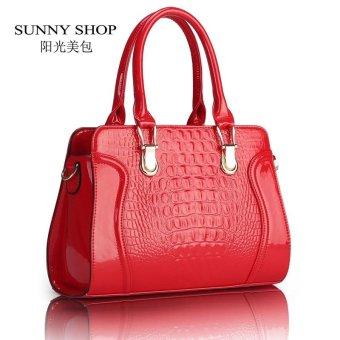 Lan-store Premium Quality Female Tote Bag Series--Fashion Alligator Pattern Handbag PU Leather Casual Shoulder Bag Women Designer Messenger Bag (Red) - intl