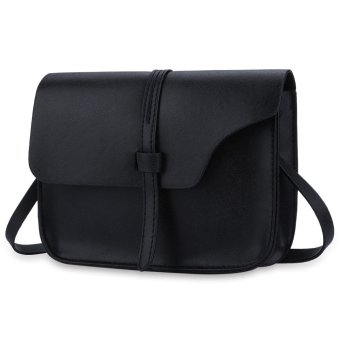 Solid Color Cover Belt Shoulder Messenger Cell Phone Bag Horizontal(Black) - intl