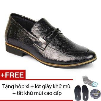 Giày da nam tăng chiều cao phong cách SMARTMEN GL-14 (Đen) + Tặng 1 hộp xi + 1 lót giày khử mùi + 1 đôi tất khử mùi