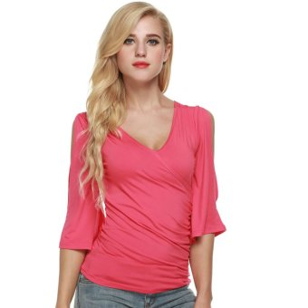 Cyber Meaneor Fashion Women Casual Faux Wrap Flare Sleeve Pullover Tops Blouse - Intl