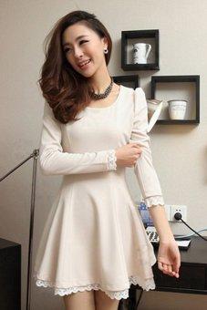 Sunweb Elegant Women Slim Dress Long Sleeve Party ( White ) - intl