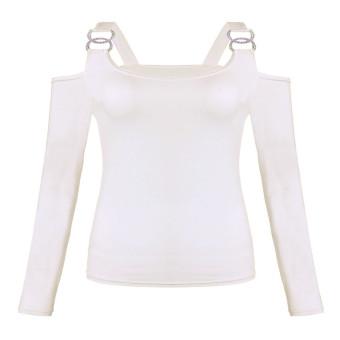 ZANZEA Sexy Women Low Shoulder Long Sleeve Bodycon Blouse T-Shirt - Intl