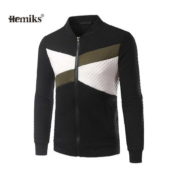 Men Wear Sweaters Simple Collision Color Stitching Jacket - intl
