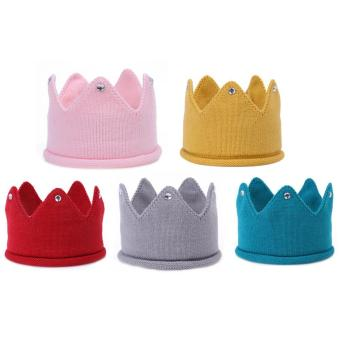 5Pcs Baby Infant Girls Outdoor Winter Warm Knitting Wool Crown Shape Decoration Headbands Hats Hair Band Headwraps Accessories for Birthday Party Family Photo - intl