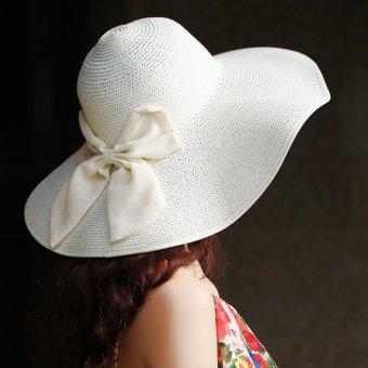 Teamtop Summer Lady Women Floppy Straw Hat Sun Beach Cap Bow Foldable Wide Brim Boheimia - intl