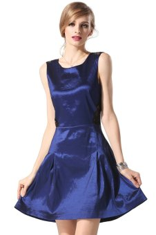 Cyber Finejo Stylish Sexy Lace Cross Sleeveless Party Cocktail Charming Dress (Blue) - Intl