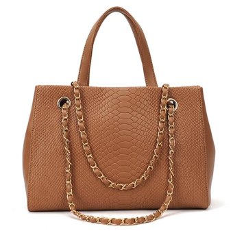 Linemart Fashion Women's Crocodile Pattern Chain Leather Handbag Shoulder Bag Tote ( Brown ) - intl