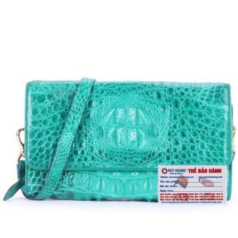 HL6254 - Túi xách nữ da cá sấu Huy Hoàng đeo chéo màu xanh lá