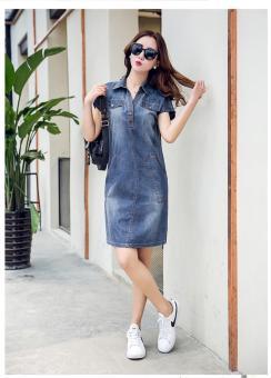 Đầm jean suông karaki phối túi trẻ trung