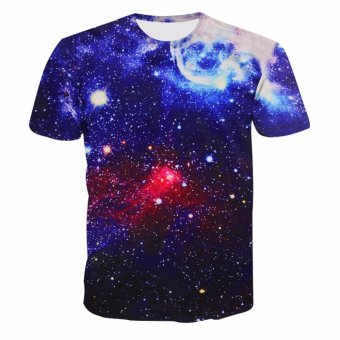 Fancyqube Fashionable Designer Casual Galaxy Mustache Space Graphic Print Loose T shirts Blue - intl