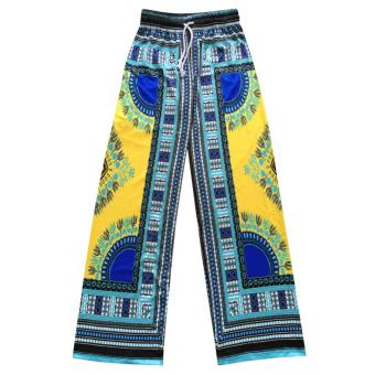 Women Bohemia African Print Wide Leg Pants(Yellow) - intl